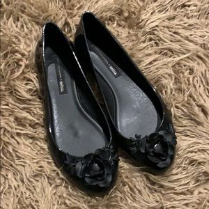Melissa black rubber flower flats